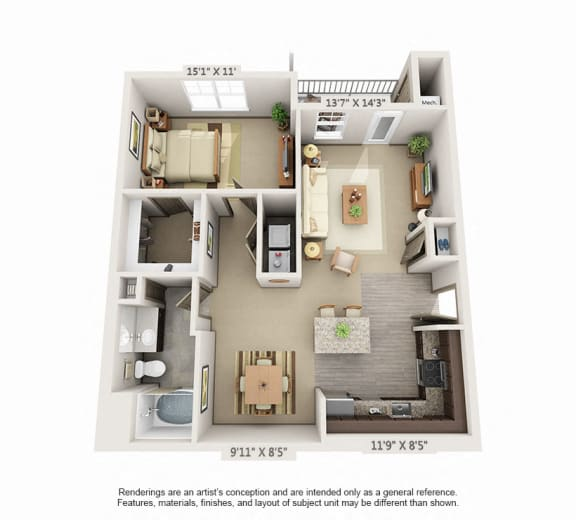 Floor Plan  Woodview 1BR 1 BA 992sqft A4