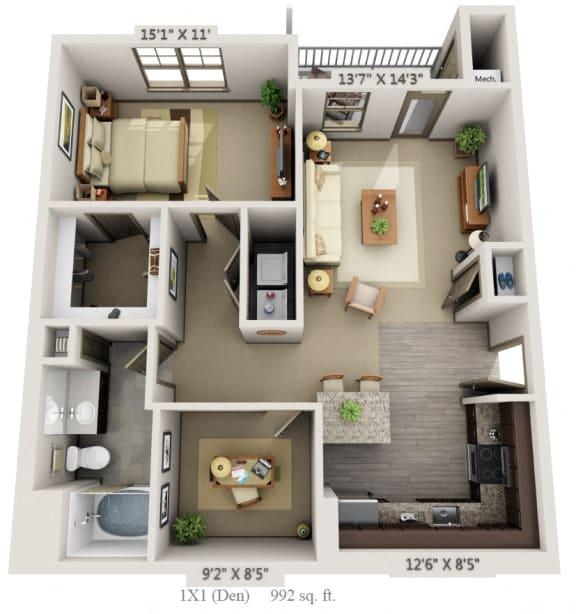 Floor Plan  Woodview 1BR 1BA  Den 992 sq ft A4D