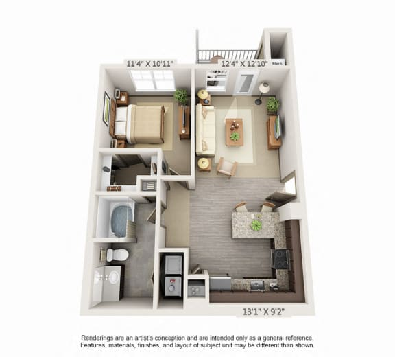 Floor Plan  Woodview 1BR 1BA 772sqft A1
