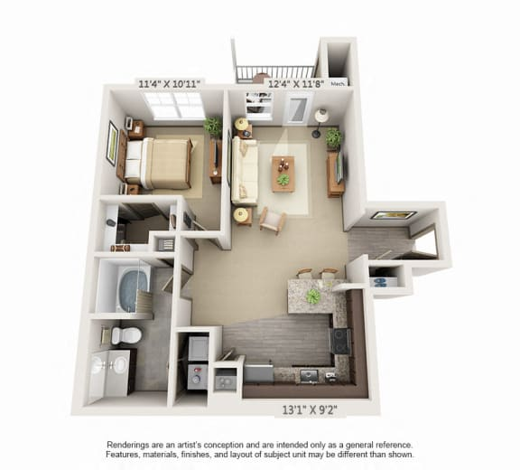 Floor Plan  Woodview 1BR 1BA 824sqft A3