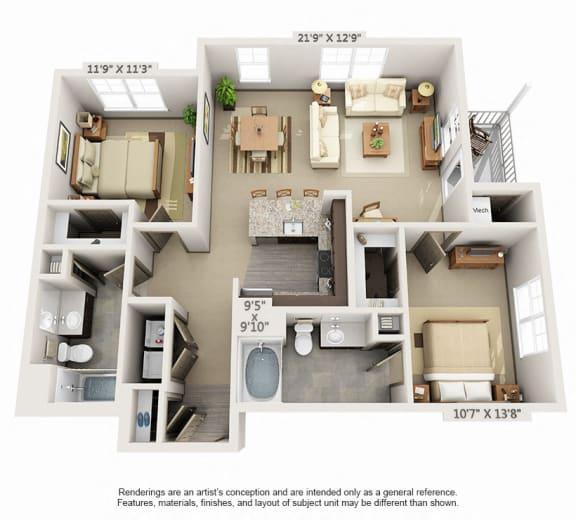 Floor Plan  Woodview 2BR 2BA 1182sqft B1
