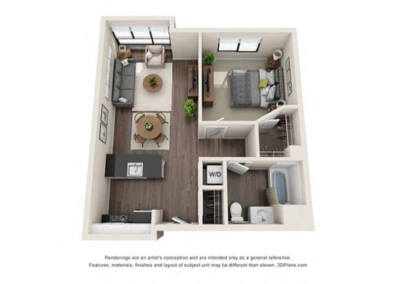 Floor Plan  One Bedroom Floorplan for apartments in los angeles