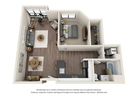 One Bedroom Floorplan for corner unit apartment