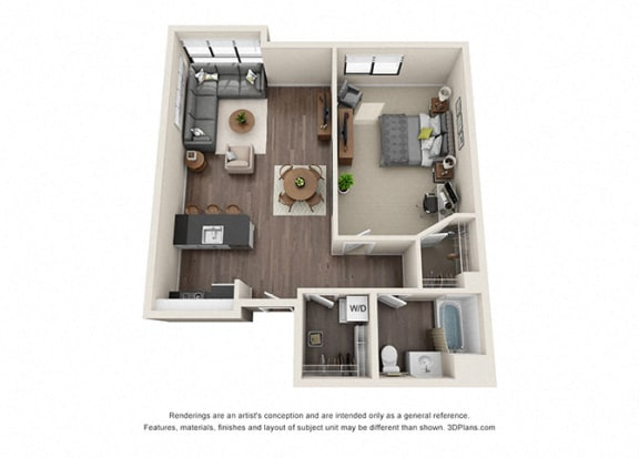 One Bedroom Floorplan for apartments near koreatown
