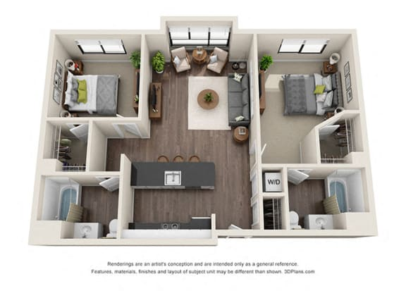 Two Bedroom Floorplan with large windows at apartments near koreatown