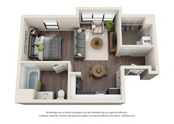 Studio 3 apartment layout option for residents of wilshire vermont