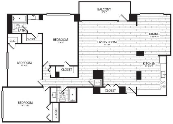 Floor Plan  3 Bedroom, 2 Bath 1756 C1R