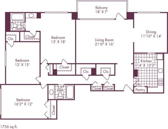 Floor Plan  3 Bedroom, 2 Bath 1756 SF C1