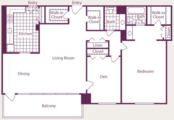 Floor Plan  2 Bedroom, 2 Bath - B18 Renovated