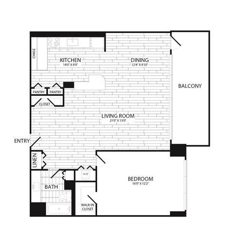 Floor Plan  1 Bedroom, 1 Bath 949 SF A10R