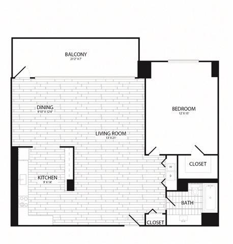 Floor Plan  1 Bedroom, 1 Bath 960 SF A12R