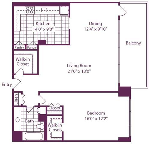 Floor Plan  1 Bedroom, 1 Bath 966 SF A13R