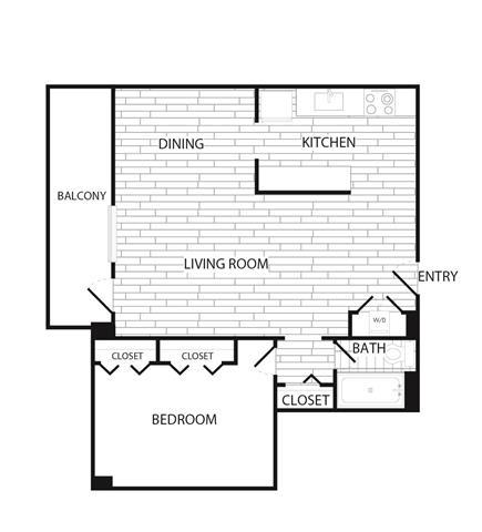 Floor Plan  1 Bedroom, 1 Bath 986 SF A14R