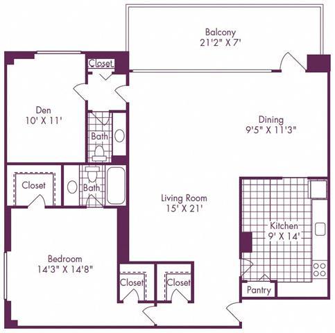 Floor Plan  1 Bedroom + Den, 1.5 Bath 1100 SF A15