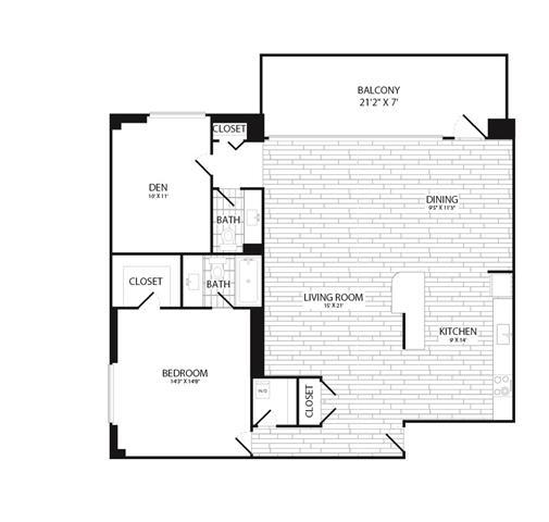 Floor Plan  1 Bedroom + Den, 1.5 Bath 1100 SF A15R