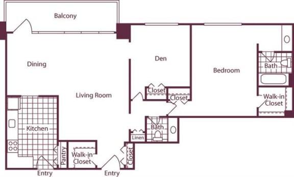 Floor Plan  1 Bedroom + Den, 1.5 Bath 1186 SF A16