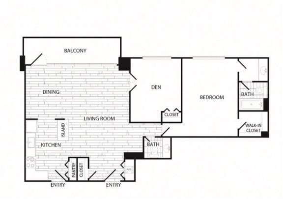 Floor Plan  1 Bedroom + Den, 1.5 Bath 1186 SF A16R