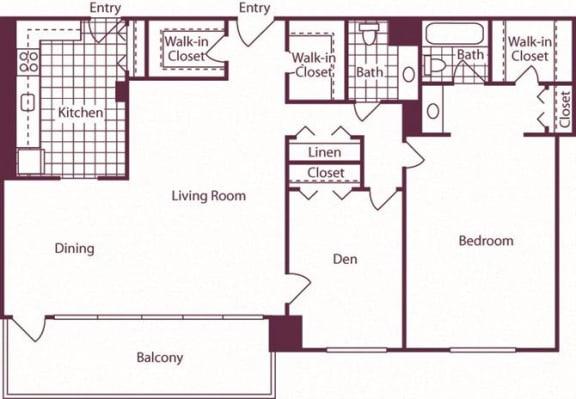 Floor Plan  1 Bedroom + Den, 1.5 Bath 1288 SF A18