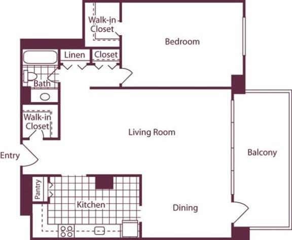 Floor Plan  1 Bedroom, 1 Bath 914 SF A5