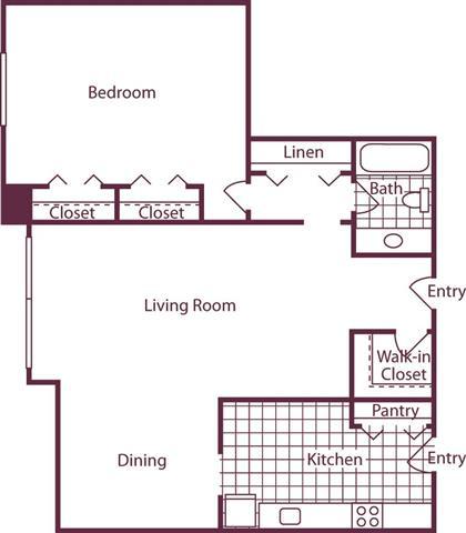 Floor Plan  1 Bedroom, 1 Bath 905 SF A7