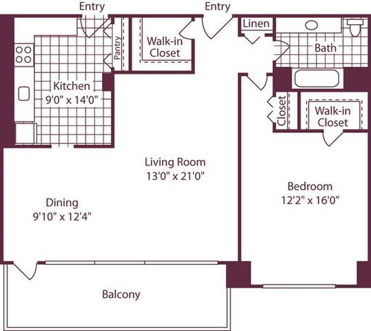 Floor Plan  1 Bedroom, 1 Bath 946 SF A9