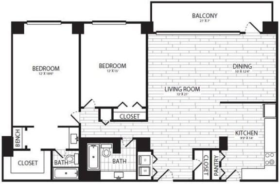 Floor Plan  2 Bedroom, 2 Bath 1313 SF B1