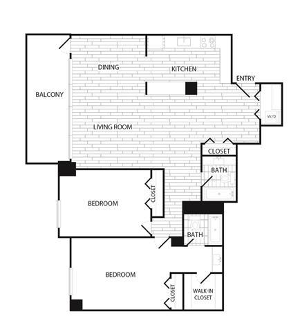 Floor Plan  2 Bedroom, 2 Bath 1492 SF B3
