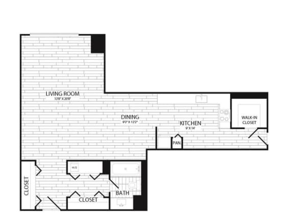 Floor Plan  Studio, 1 Bath 575 SF E1G