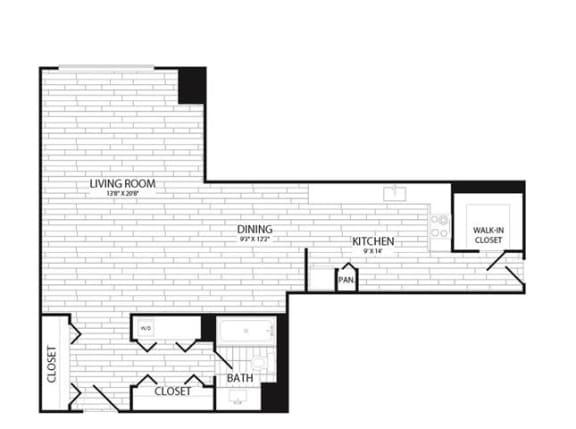 Floor Plan  Studio, 1 Bath 600 SF E2g