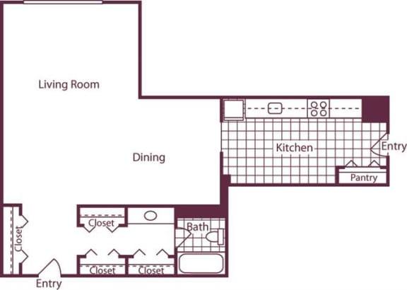 Floor Plan  Studio, 1 Bath 697 SF E4