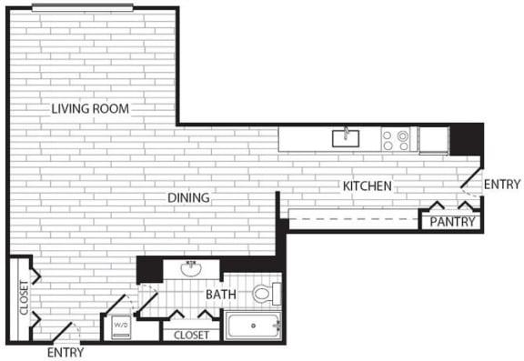Floor Plan  Studio, 1 Bath 697 SF E4R