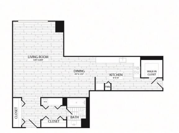 Floor Plan  Studio, 1 Bath 735 SF E6