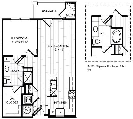 Floor Plan  1 Bed, 1 Bath - A1T