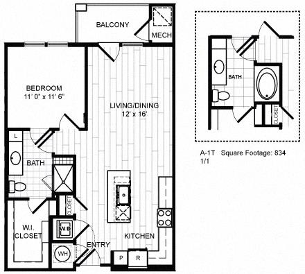 Floor Plan  1 Bed, 1 Bath - A1