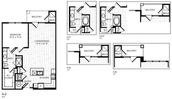 Floor Plan  1 Bed, 1 Bath - A2X
