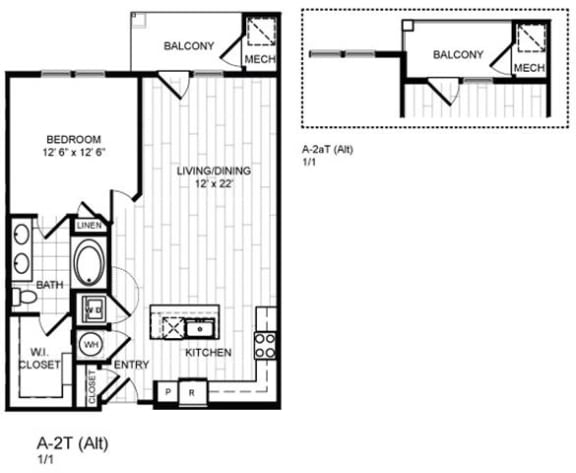Floor Plan  1 Bed, 1 Bath - A2T