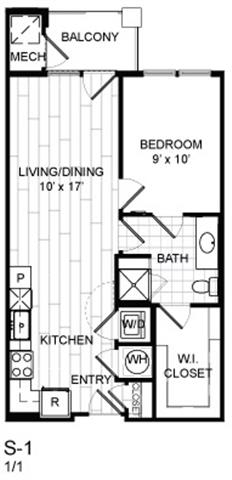 Floor Plan  1 Bed, 1 Bath - S1