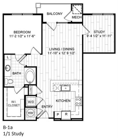 Floor Plan  1 Bed, 1 Bath, Study - B1a