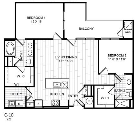 Floor Plan  2 Bed, 2 Bath - C10