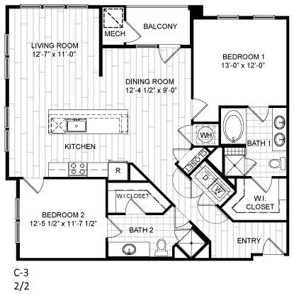 Floor Plan  2 Bed, 2 Bath - C3