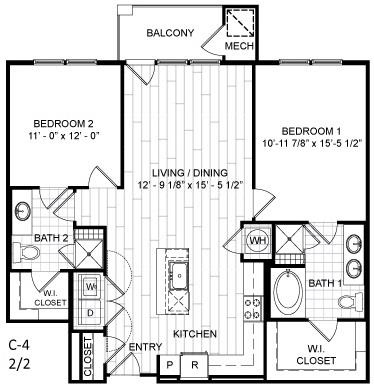 Floor Plan  2 Bed, 2 Bath - C4