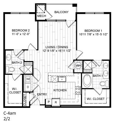 Floor Plan  2 Bed, 2 Bath - C4am