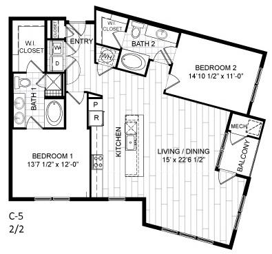 Floor Plan  2 Bed, 2 Bath - C5