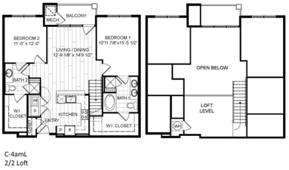 Floor Plan  2 Bed, 2 Bath, Loft - C4amL
