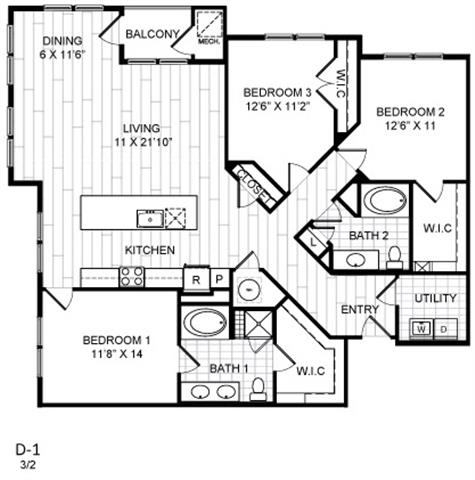 Floor Plan  3 Bed, 2 Bath - D1