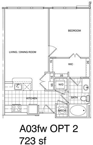 Floor Plan  1 Bedroom, 1 Bath 728 SF A3.2