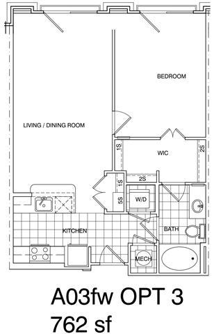Floor Plan  1 Bedroom, 1 Bath 730 SF A3.3