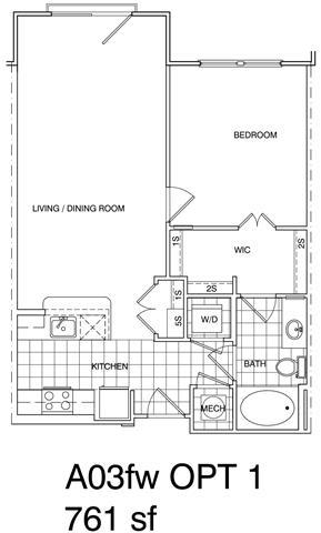 Floor Plan  1 Bedroom, 1 Bath 761 SF A3.5