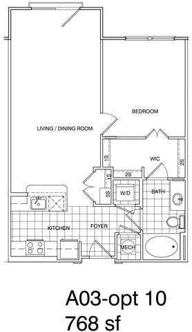 Floor Plan  1 Bedroom, 1 Bath 768 SF A3.8