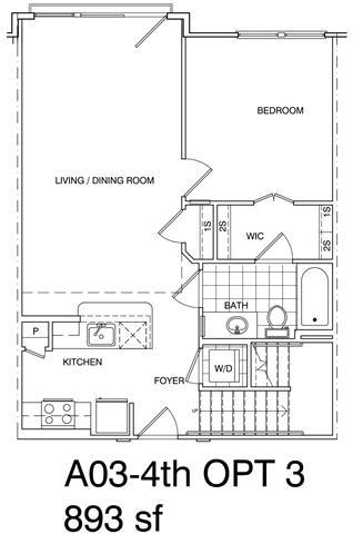 Floor Plan  1 Bedroom + Loft, 1 Bath 893 SF A3L.2